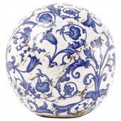 keramická koule koule modro-bílá patina/ malá