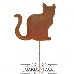 """zahradní kovový zápich s patinou """"sedící kočka"""" malá"""