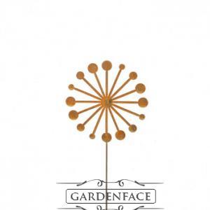zahradní kovový zápich s patinou - odkvetlá pampeliška  20cm
