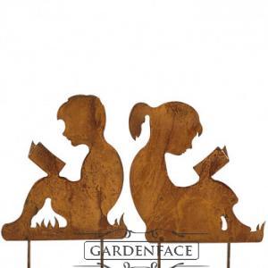 """zahradní kovový zápich """"čtoucí děti"""" set"""