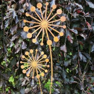 kovový zápich odkvetlá pampeliška 2 květy