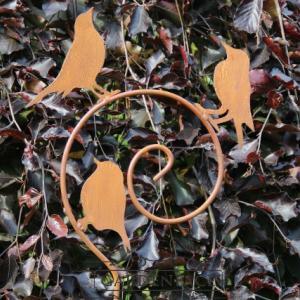 kovový zápich spirála s ptáčky