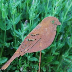 zahradní kovový zápich s patinou - ptáci set 2 ks