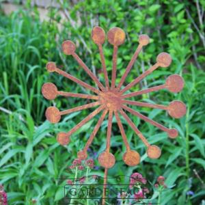 zahradní kovový zápich s patinou - odkvetlá pampeliška