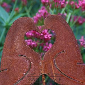 """zahradní kovový zápich s patinou """"hrdličky"""""""