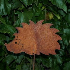 zahradní kovový zápich s patinou - ježek