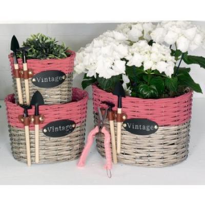 set proutěných květníků  růžový
