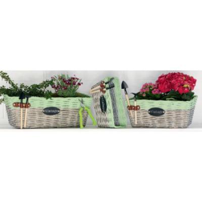 set proutěných květníků  zelený