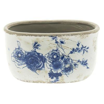 Keramický obal na květináč modrobíly oválný
