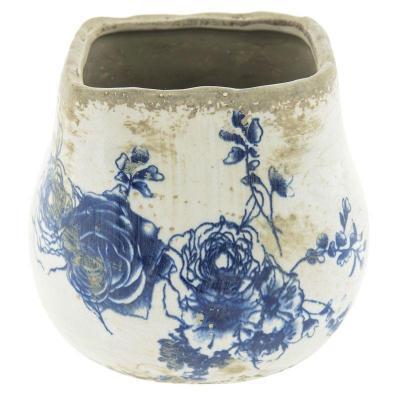 Keramický obal na květináč modré květy M