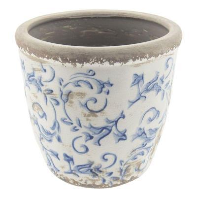 Keramický obal na květináč modrý vzor patina