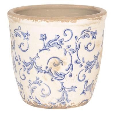Keramický obal na květináč L bílá/modrá
