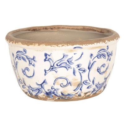 Keramický obal na květináč nízký bílá/modrá
