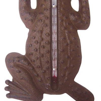 venkovní litinový teploměr žába