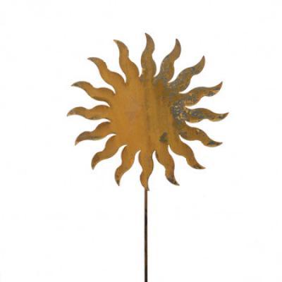 zahradní kovový zápich s patinou - slunce velké