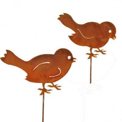 kovový zápich ptáčci set 2ks  patina