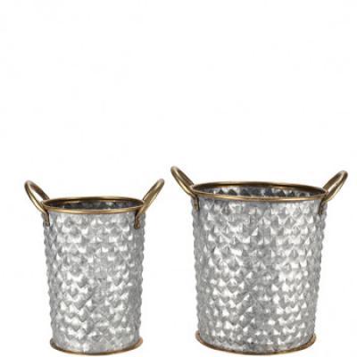 set dvou kovových  plastických květníků