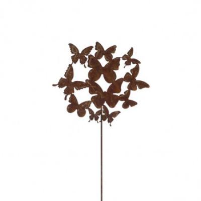 zahradní kovový zápich s patinou - motýlí rej výška 60cm corten