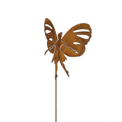 """zahradní kovový zápich s patinou  """"motýlí  víla"""" malá"""