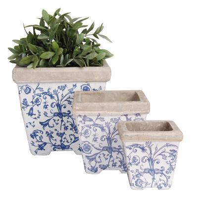 set 3 květníků modro-bílá patina