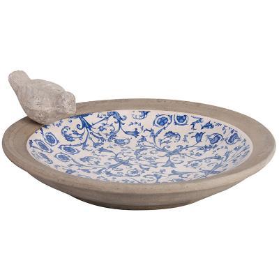 ptačí pítko/koupel modro-bílá patina