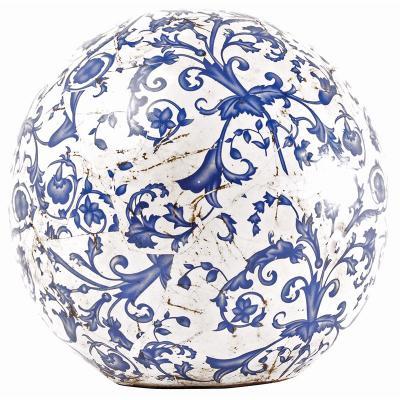 keramická koule modro-bílá patina/ velká