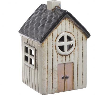 keramický domeček na svíčku  - bílý kulaté okénko