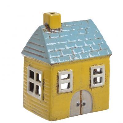 keramický domeček na svíčku - žlutý