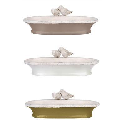 pítko - koupel pro ptáčky zelená  bílá