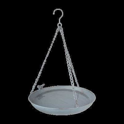 závěsné pítko/koupel pro ptáčky šedý kov