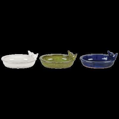 Keramické pítko/ptačí koupel glazované-bílá/oválné