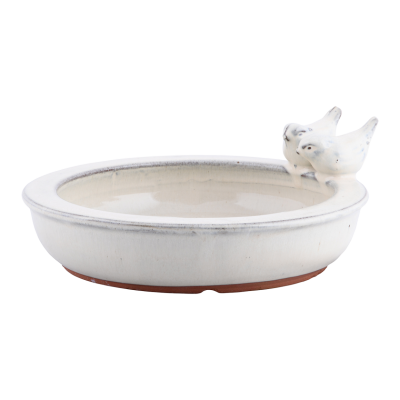 Keramické pítko/ptačí koupel glazované-bílá/kulaté