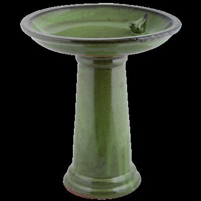keramické ptačí pítko/koupel na noze zelené