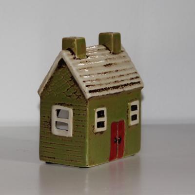 keramický domeček na svíčku - zelený dva komíny