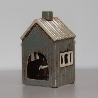 keramický domeček na svíčku - šedý široké okno