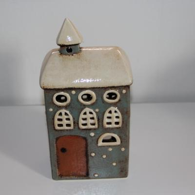 keramický kostelíček na svíčku - šedý