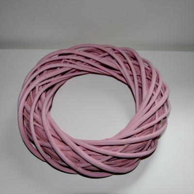 věnec z barveného proutí na aranžování - růžový 30cm