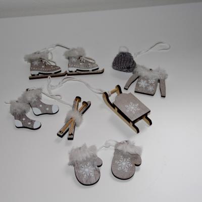 zimní dekorace - šedá set 10 ks