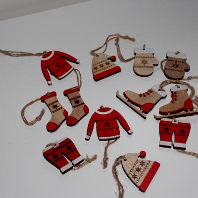 zimní dekorace - červená/přírodní sada 12 ks