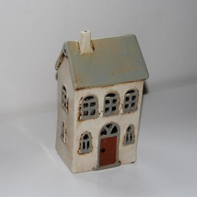 keramický domeček na svíčku - béžový dvě patra