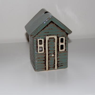keramický domeček na svíčku - modrý pruhovaný