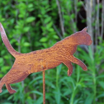 zahradní kovový zápich s patinou - kočka
