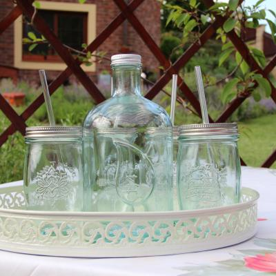 sklenice s brčkem - recyklované sklo