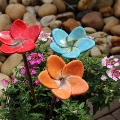 zápich keramická květina střední - glazura