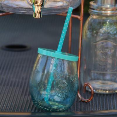 sklenice s brčkem modrá