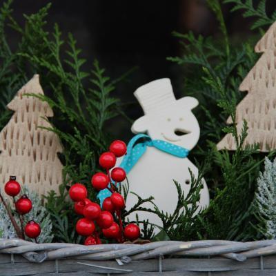 keramický sněhulák- zápich