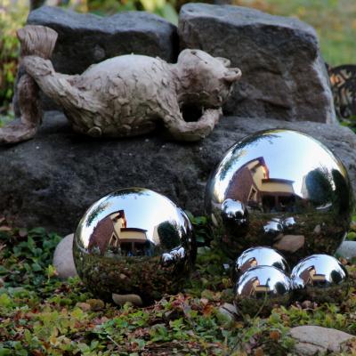 zahradní dekorace nerezová koule 10 cm