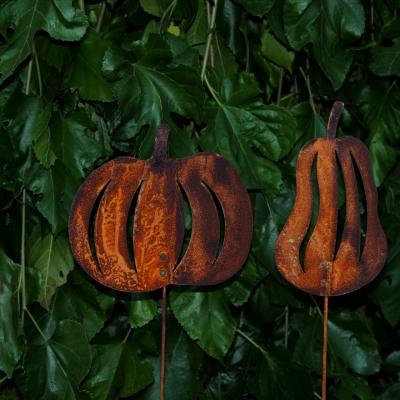 zahradní kovový zápich s patinou - dýně set 2ks