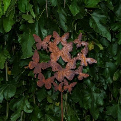 zahradní kovový zápich s patinou - motýlí rej výška 60cm