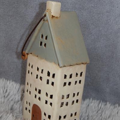 keramický domeček - svícen zelenkavý 30cm